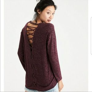 American Eagle Soft & Sexy Lace Up Cut Out Back Pullover Small Maroon Sweater